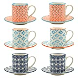 Patterned Espresso Cup and Saucer Set 65ml - Set of 6