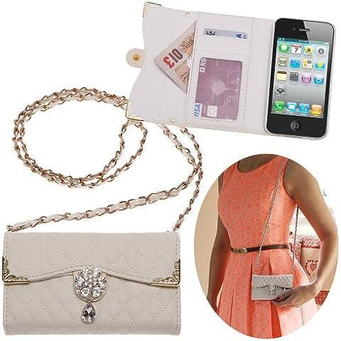 Xtra-Funky Esclusivo Lusso Faux Custodia in pelle trapuntata borsa della borsa di stile con la cinghia da trasporto e splendidamente decorate fiore di cristallo per iPhone 4 / 4S - Bianco (include un mini stilo e schermo LCD PELLICOLA)