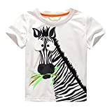 Huhu833 Bekleidung Kinder Baby Jungen Cartoon Zebra Druck T-Shirt Sommer Top Kleidung (Weiß, 5T-120CM)