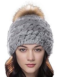 50ee0106da2c0 URSFUR Unisex gorra o pasamontaña de piel de conejo con pompón de mapache  orejas tapadas cálido