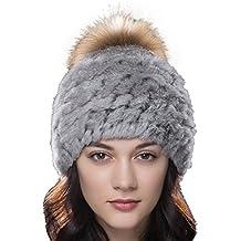 URSFUR Unisex gorra o pasamontaña de piel de conejo con pompón de mapache  orejas tapadas cálido 30137605306