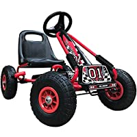 Kiddo RG0209 Racer Design Red Kids Childrens Pedal Go-Kart Ride-On Car, Adjustable Seat, Rubber Tyres-Suitable for 4 to 8 Years-New