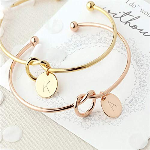 Daawqee Damen Armband,Wickelarmband, Personalized Knot Initial Bracelets Bangles A-Z 26 Letters Initial Charm Bracelet Love Bangles for Women Jewelry Pulseiras Gold D