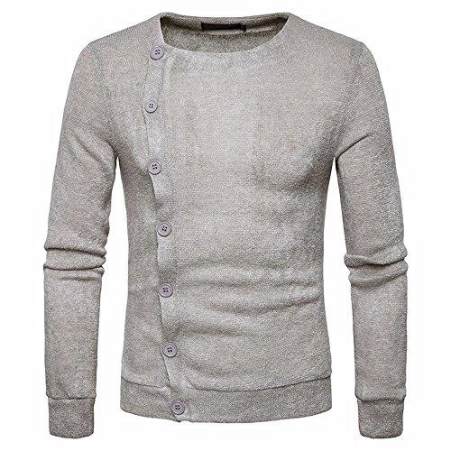Breasted Taste (HY-Sweater Im Herbst und Winter des Europäischen Kodex Männer Fashion Trend Slim Taste Single Breasted Pullover Mode Mantel, Hellgrau, M)