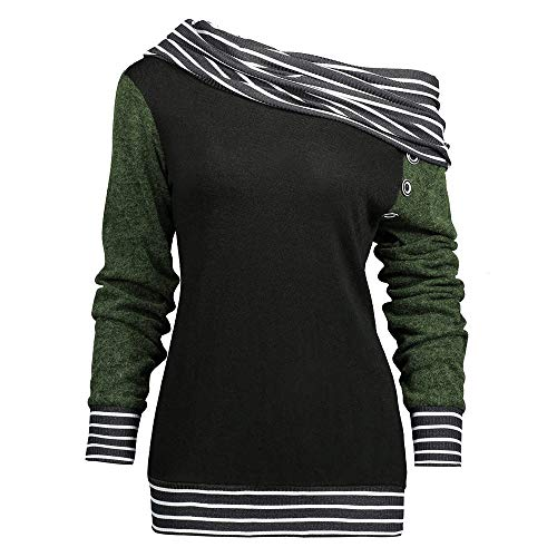 Yanhoo Pullover Damen Herbst Winter Mode Frauen Skew Neck Lange Ärmel Striped Patchwork Button Sweatshirt Top