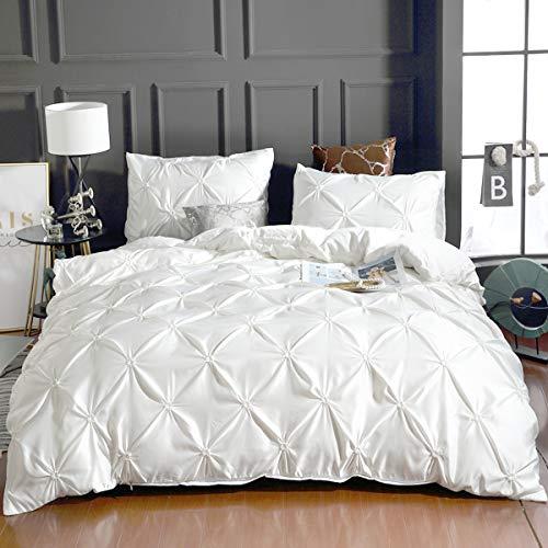 WONGS BEDDING Just Contempo Parure de lit 3 pièces avec Housse de Couette plissée Blanc 220 x 240 cm