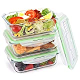 Symbom Premium Glass Prep Meal Container Set with Snap Locking Lid Microwave, Oven, Freezer and Dishwasher