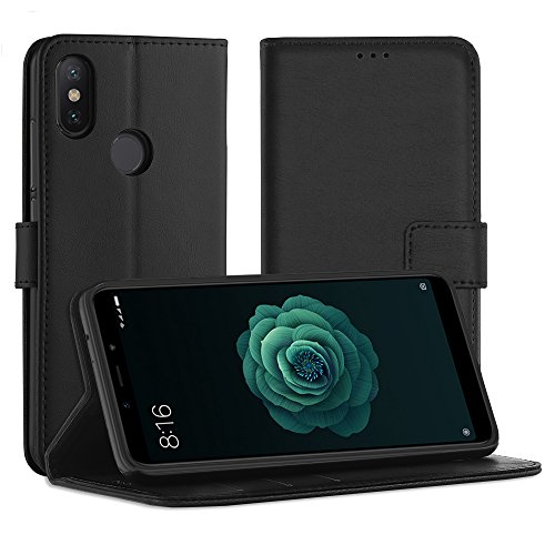 Simpeak Funda Compatible con Xiaomi Mi A2/6X (5.99 pulgadas), Funda Libro Compatible con Xiaomi Mi A2 Carcasa Cuero Compatible con Xiaomi Mi A2 Soporte Plegable/Ranuras , Negro