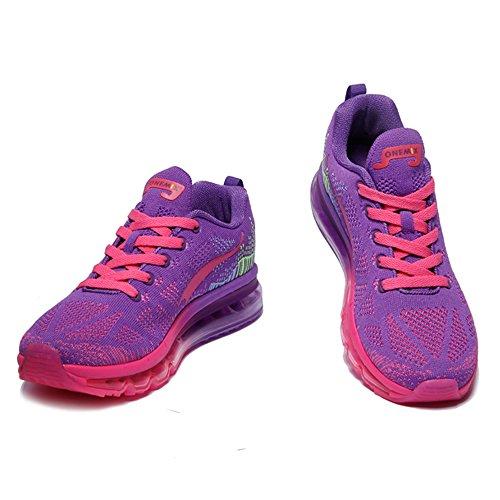 ONEMIX Homme Femme Air Chaussures de Course Music Rhythm 1st Generation Gym Respirante Sneakers Mixte Adulte Violet