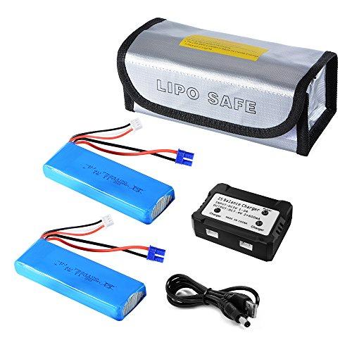 XCSOURCE2pcs-74V-2700mAh-10C-20Wh-LiPo-BatterieChargeur-quilibre-USB-pour-Hubsan-H501S-Quad-Drone-Bleu-RC473