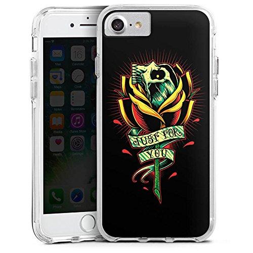 Apple iPhone 7 Bumper Hülle Bumper Case Glitzer Hülle Tattoo Skull Gothic Blume Bumper Case transparent