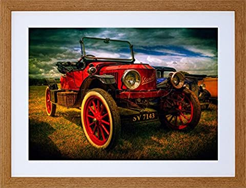 VINTAGE RED OLD CAR CLASSIC AUTOMOBILE FRAMED ART PRINT PICTURE & MOUNT F12X1794
