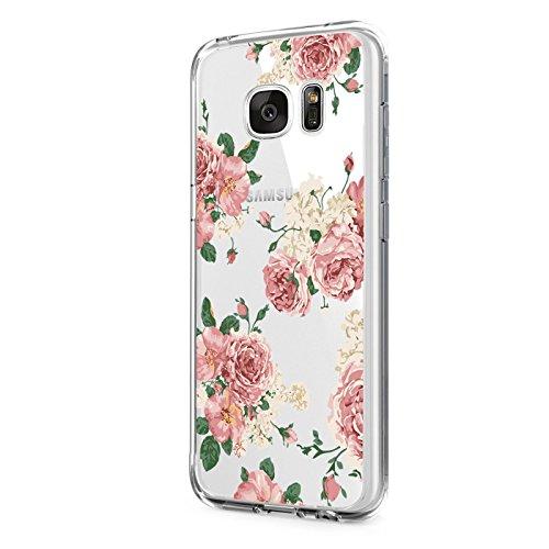 Pacyer kompatibel mit Galaxy S6 / S6 Edge / S6 Edge Plus Hülle transparent Silikon Ultra dünn Cooler grüne Blätter Wolf Schutzhülle Rückschale Handyhülle TPU Back cover(Blumen 6, Galaxy S6)