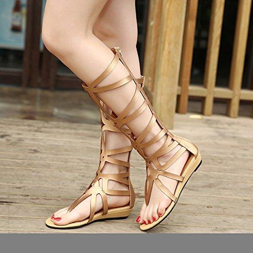 XY&GKSandales femmes talon haut Chaussures d'été 35 gold