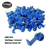 RUNCCI 60Pcs conector rapido cables electricos,Scotch Lock Conector,Conector Rama,para Cable 1.0-2.5mm² / 18-14 AWG –– Azul