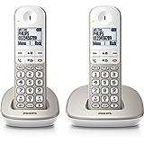 Philips XL4902S/FR téléphone sans fil DECT confort touches larges duo argent