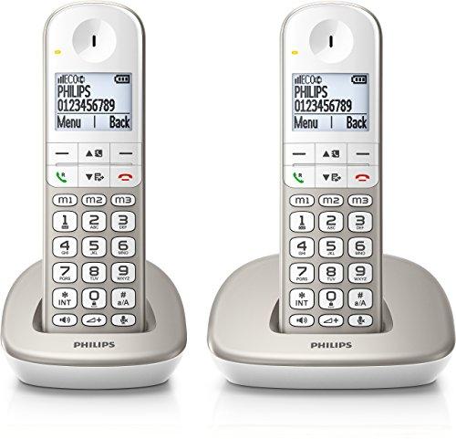 Philips XL4902S/fr 2 Téléphones Fixe sans Fil duo avec Haut-parleur, Amplification du Son, Larges Touches, Compatible Appareil auditif, Argent