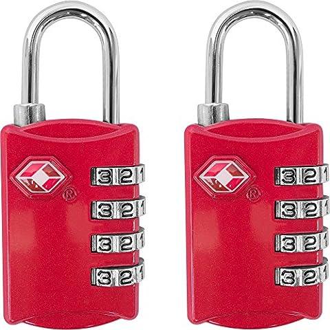 TSA bagages Serrures?Lot de 2?Cadenas à combinaison 4chiffres de voyage pour valises, sacs et accessoires - Red & Red