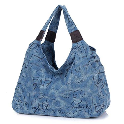 BYD - Donna Uomo Unisex Large School Bag Borse Tote Bag Shopping Bag Canvas Bag Colore puro Borse a mano Borse a spalla Blu