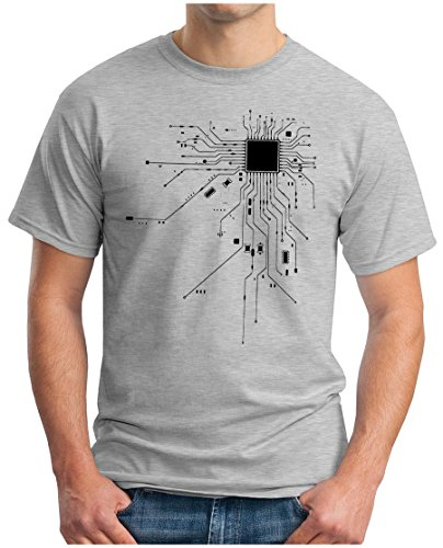 OM3 - Computer Heart - T-Shirt CPU RAM IT Nerd PC Network Admin Harddisk HDD SSD Geek Swag Emo, M, Grau Meliert -