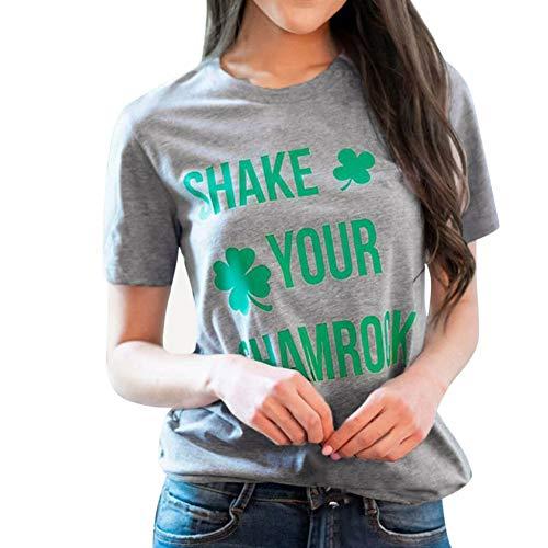WDFSER T Shirt Frauen Casual St. Patricks Tag Gedruckt Baumwolle Kurzarm T-Shirt Oansatz Tops Weiß Grau Tees Sommer Shirt (Sexy St Patricks Tag Shirts)