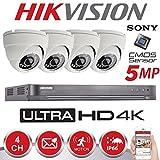 Hikvision Système sécurité pour la maison avec DVR et caméra extérieure de vidéosurveillance HD, 4K, 5MP, à vision nocturne (Blanc)