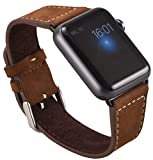 OKCS Apple Watch Series 1, Series 2, Edition Echt Leder Armband Uhrenband + 1 x Connector schwarz...