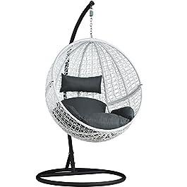 TecTake Chaise hamac avec Support en Résine Tressée Fauteuil Suspendu de Jardin Balancelle Transat – diverses Couleurs…