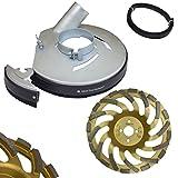Metall Absaughaube für Winkelschleifer Ø 230 mm inkl. 1x Schleifteller Premium & Ersatz-Bürstenband 650 mm