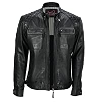Xposed Mens New Real Soft Leather Black Vintage Zipped Smart Casual Biker Style Jacket