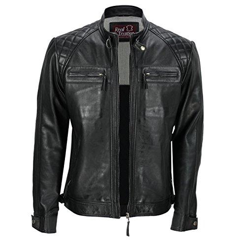 Xposed, giacca da uomo con cerniera, in vera pelle morbida, nera, vintage, alla moda, casual, stile motociclista black large