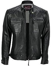 228b064e98 Mens Real Leather Washed Dark Grey Vintage Zipped Smart Casual Biker Jacket