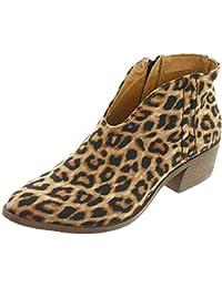 268995dfc Botines Mujer Tacon Ancho Ante Cuero Tobillo Botas Piel Ankle Boots 4 Cm  Cremallera Moda Comodos Verano Primavera Negro Gris…
