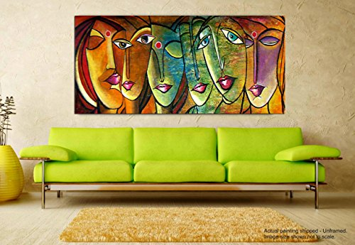 Tamatina Modern Art Canvas Paintings - Faces of Life - Abstract Paintings...