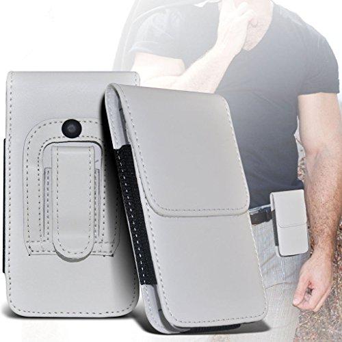 Fone-Case (White) Allview V2 Viper Xe Hülle der nagelneuen Luxus Faux PU Vertikal Seiten Leder Pull Tab-Beutel-Haut-Kasten-Abdeckung