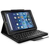 Seluxion - Housse Etui de Protection Noir avec Clavier détachable Français Azerty Intégré Connexion Bluetooth pour Tablette Amazon Fire 7