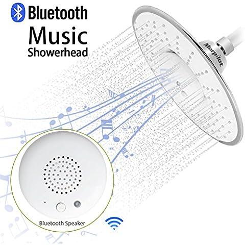 morpilot ancha de la forma redonda del mojada Top la ducha de lluvia del aerosol con impermeable Música Jet altavoz inalámbrico Bluetooth cromo pulido de ducha de Audio Box micrófono incorporado con llamadas de respuesta del