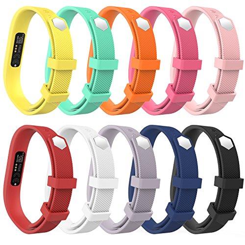 MoKo Fitbit Flex 2 Correa - [10 PZS] Reemplazo de Silicona Suave Deportivo Sport Strap Band con Broches para Flex 2 Wireless Actividad Pulsera Brazalete ( NO INCLUYE EL RASTREADOR ), Apta 128mm-180mm / S, 10 Colores