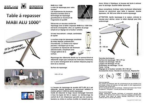 Mabi 2144 Bügeltisch Alu Design 1000 – Streckmetall-Bügeltisch – Hochwertiges Alugestell – Leicht – Portabel – Groß – Standfest – Kettler Spezial-Alu-Bügelbezug – Frei Positionierbare Bügeleisenablage - 2
