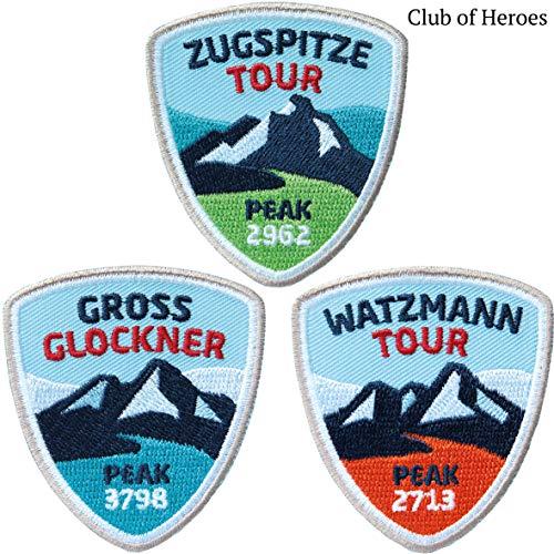 3er-Set Bergsteiger Abzeichen - Zugspitze Watzmann Groß-Glockner 55 x 60 mm gestickt / Ostalpen Bergtour Bergsteigen Klettersteig / Aufnäher Aufbügler Sticker Patch / Wanderführer Tourenführer Karte