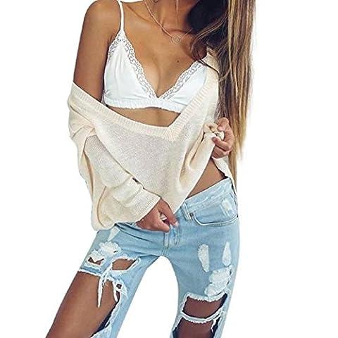Vovotrade Fashion Design Femmes dentelle florale Bralette Bralet Bustier Crop Top Cami unpadded réservoir (Size:S, Blanc)