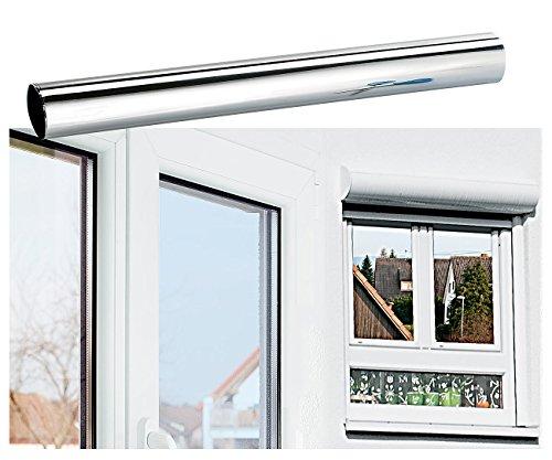 infactory Spiegel Sichtschutzfolie: Isolier-Spiegelfolie, Sicht-/UV-Schutz (99%), selbstklebend, 40x200cm (Spiegelfolie statisch haftend)