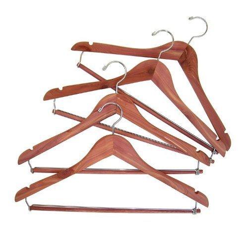 CedarFresh Cedar Hanger with Locking Trouser Bar, Set of 4 by Hosuehold Essentials -