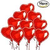 NUOLUX Folienballon, Herz Luftballons Folie, Luftballons Hochzeit, Helium-Ballons mit Seilen für Hochzeit-10 Stück