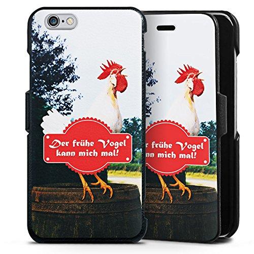 Apple iPhone 6s Lederhülle Handyhülle mit Klappe Klappfunktion Flip Case Fruehe Vogel Hahn Landleben (Früh Klappe)