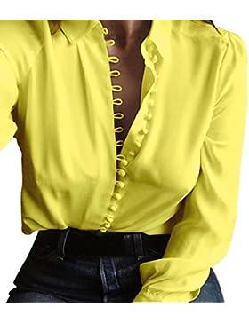 Donna casuale solido manica lunga camicetta camicia Rawdah Magliette lunghe a maniche lunghe casual della camicia...