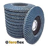 20 Stück Feroflex Profi-Qualität Fächerscheiben Lamellenscheiben Schleifscheiben Schleifmopteller 125 mm Korn 40