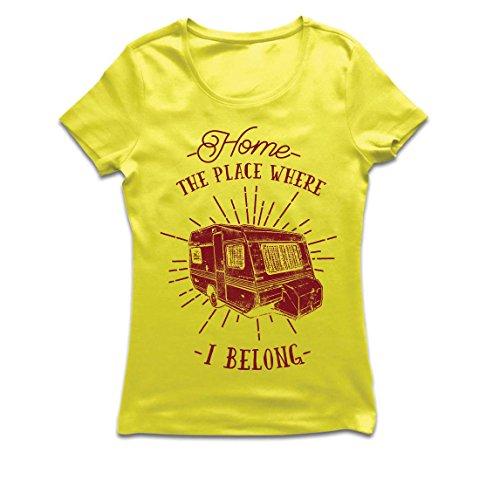 Frauen T-Shirt der Platz, zu dem ich gehöre - Wohnwagen, Wohnmobil - Wildnis, wild und glücklich Urlaub, Natur, Strand, Waldcamping (Small Gelb Mehrfarben)