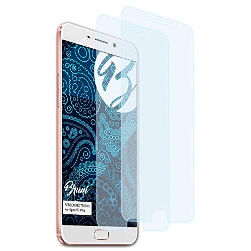 Bruni Schutzfolie kompatibel mit Oppo R9 Plus / F1 Plus Folie, glasklare Bildschirmschutzfolie (2X)