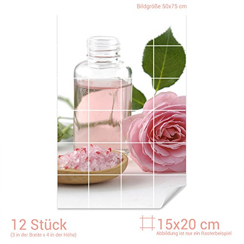 Graz Design 761465_15x20_50 Fliesenaufkleber Fliesenbild Massageöl mit rosa Rose und Badesalz (Fliesenmaß: 15x20cm (BxH)//Bild: 50x75cm (BxH))